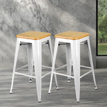 Load image into Gallery viewer, Tolix Bar Stools, Bamboo, White (Set of 2)