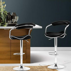 Picard Bar Stools, Leather, Black (Set of 2)