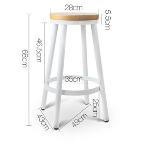 Cynthia Bar Stools, Stackable, White (Set of 2)