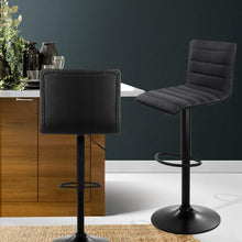 Load image into Gallery viewer, Joni Steel Bar Stools, Leather, Black (Set of 2)