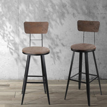 Load image into Gallery viewer, Ellis Bar Stool, Wood, Dark Brown, 76cm