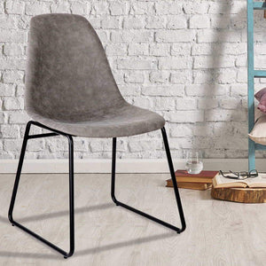 Leon Dining Chairs, Leather, Grey (Set of 2)