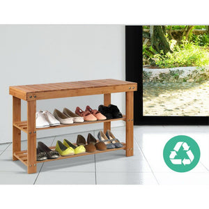 Shoe Rack 2 Tier, Bamboo