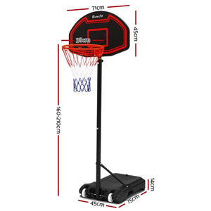 Basketball System, Portable, Adjustable, Black, 2.1m