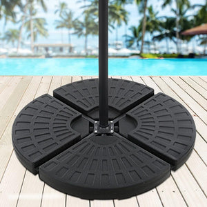 Vidal Umbrella Water-Filled Base Plates, Black, 48 x 48cm (Set of 4)