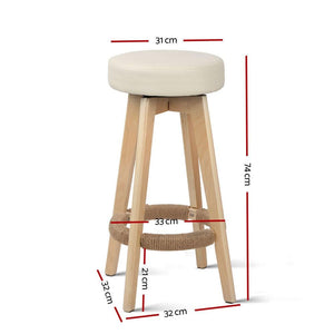 Hester Bar Stools, Leather, Beige (Set of 2)