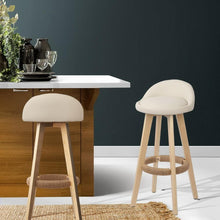 Load image into Gallery viewer, Davar Bar Stools, Leather, Beige (Set of 2)