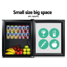 Load image into Gallery viewer, Bar Fridge Freezer, Glass Door, Black, 46L