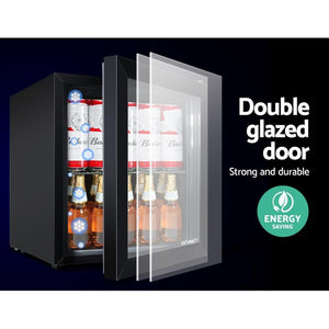 Bar Fridge Freezer, Glass Door, Black, 46L