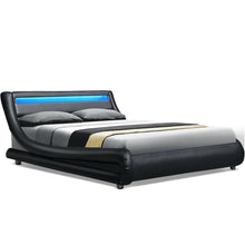 Load image into Gallery viewer, Artiss LED Bed Frame Queen Size Base Mattress Platform Black Leather Wooden ALEX