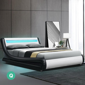 Alex Bed Frame, LED, Leather, Wooden, Queen