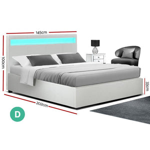 Cole Bed Frame, LED, Leather, White, Double