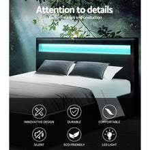 Load image into Gallery viewer, Cole Bed Frame, LED, Leather, Black, King