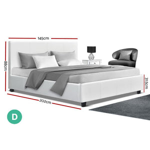Neo Bed Frame, Leather, White, Double