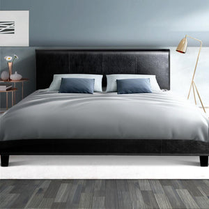 Neo Bed Frame, Leather, Black, King