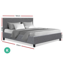 Load image into Gallery viewer, Neo Bed Frame, Fabric, Grey, King