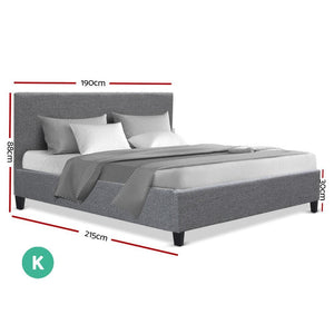 Neo Bed Frame, Fabric, Grey, King