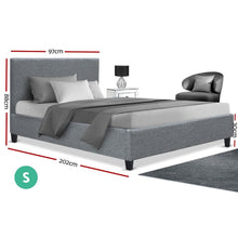 Load image into Gallery viewer, Neo Bed Frame, Fabric, Grey, Single