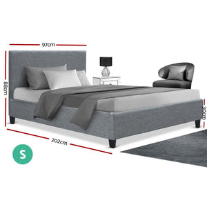 Neo Bed Frame, Fabric, Grey, Single