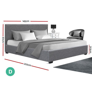 Nino Gas Lift Bed Frame, Fabric, Grey, Double