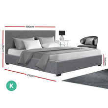 Load image into Gallery viewer, Nino Gas Lift Bed Frame, Fabric, Grey, King