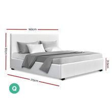 Load image into Gallery viewer, Nino Gas Lift Bed Frame, Leather, White, Queen