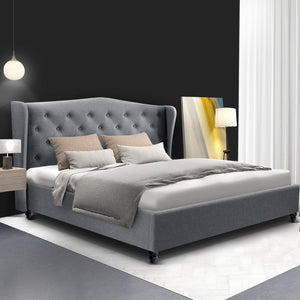Pier Bed Frame, Fabric, Grey, Double