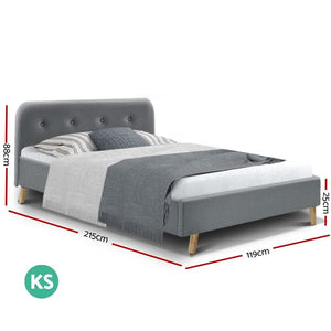 Pola Bed Frame, Leather, Grey, King Single