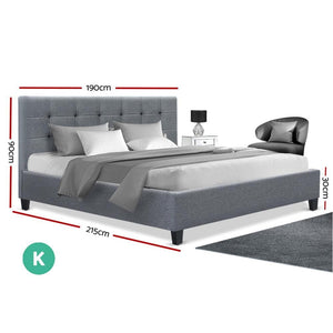 Soho Bed Frame, Fabric, Grey, King