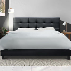 Soho Bed Frame, Leather, Black, Queen