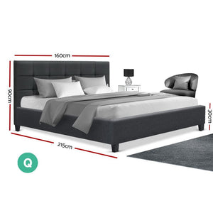Soho Bed Frame, Fabric, Charcoal, Queen