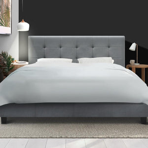 Soho Bed Frame, Fabric, Grey, Queen
