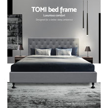 Load image into Gallery viewer, Tomi Bed Frame, Fabric, Wooden, Grey, Double