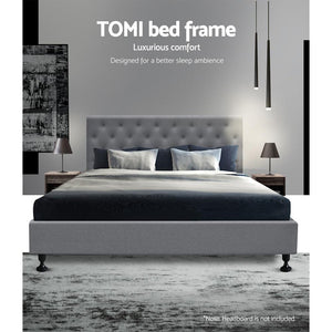 Tomi Bed Frame, Fabric, Wooden, Grey, Double
