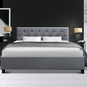 Vanke Bed Frame, Fabric, Grey, Double
