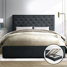 Load image into Gallery viewer, Vila Bed Frame, Fabric, Charcoal, Queen