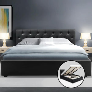 Ware Gas Lift Bed Frame, Leather, Black, Queen