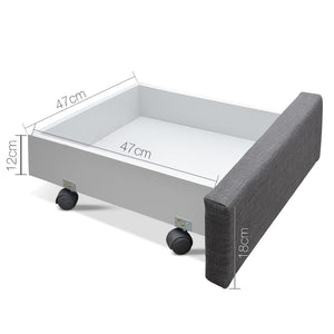 Avio Bed Frame, w/ 4 Storage Drawers, Grey, Queen