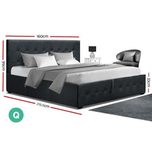 Load image into Gallery viewer, Roca Gas Lift Bed Frame, Fabric, Charcoal, Queen