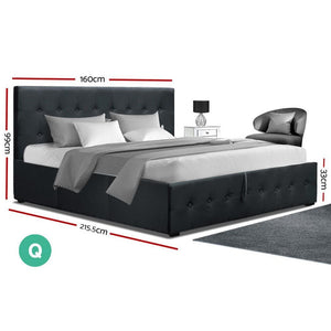 Roca Gas Lift Bed Frame, Fabric, Charcoal, Queen