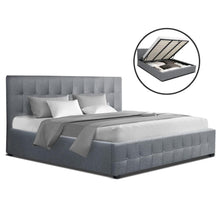 Load image into Gallery viewer, Artiss ROCA King Size Gas Lift Bed Frame Base With Storage Mattress Grey Fabric