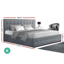 Load image into Gallery viewer, Roca Gas Lift Bed Frame, w/ Storage Mattress, Fabric, Grey, King