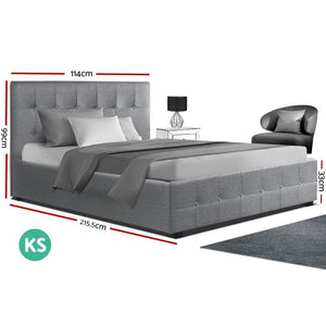 Roca Bed Frame, w/Storage Mattress, Fabric, Grey, King Single