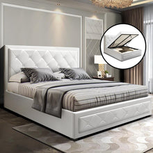 Load image into Gallery viewer, Tiyo Gas Lift Bed Frame, w/ Storage Mattress, Leather, White, Double