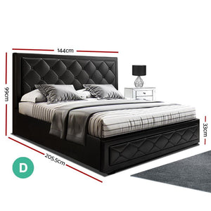 Tiyo Gas Lift Bed Frame, Leather, Black, Double