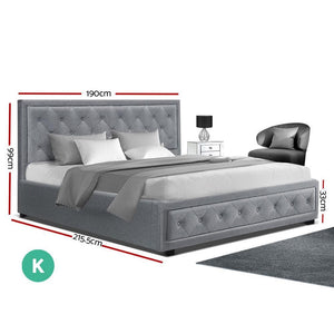 Tiyo Gas Lift Bed Frame, w/ Storage Mattress, Fabric, Grey, King