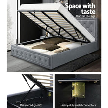 Load image into Gallery viewer, Tiyo Gas Lift Bed Frame, w/ Storage Mattress, Fabric, Grey, King