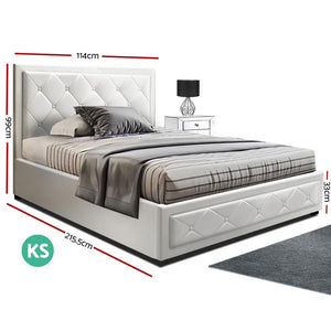 Tiyo Gas Lift Bed Frame, w/ Storage Mattress, Leather, White, King Single