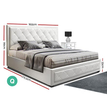Load image into Gallery viewer, Tiyo Gas Lift Bed Frame, w/ Storage Mattress, Leather, White, Queen