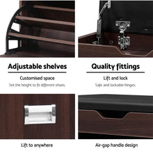 Load image into Gallery viewer, Shoe Storage Cabinet 3 Tier, Walnut